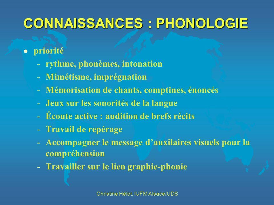 CONNAISSANCES : PHONOLOGIE l priorité -rythme, phonèmes, intonation -Mimétisme, imprégnation -Mémorisation de chants, comptines, énoncés -Jeux sur les