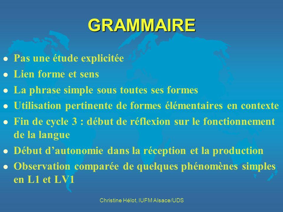 GRAMMAIRE l Pas une étude explicitée l Lien forme et sens l La phrase simple sous toutes ses formes l Utilisation pertinente de formes élémentaires en