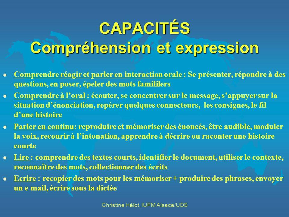 CAPACITÉS Compréhension et expression l Comprendre réagir et parler en interaction orale : Se présenter, répondre à des questions, en poser, épeler de