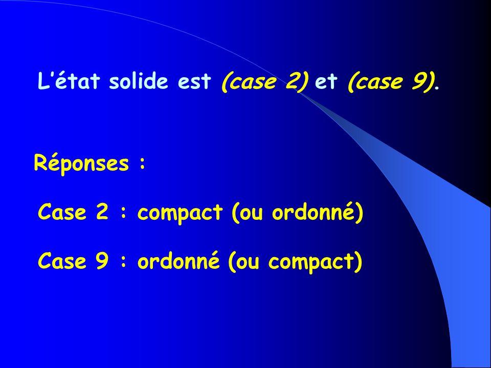 Létat solide est (case 2) et (case 9).