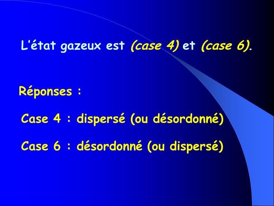 Létat gazeux est (case 4) et (case 6).