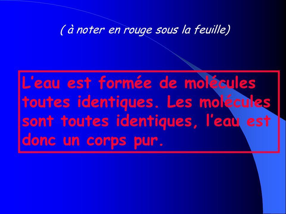 ( à noter en rouge sous la feuille) Leau est formée de molécules toutes identiques.
