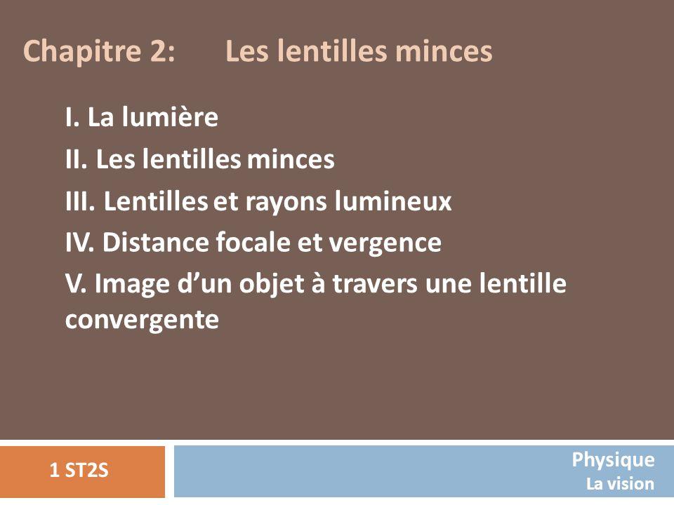 Chapitre 2: Les lentilles minces I. La lumière II. Les lentilles minces III. Lentilles et rayons lumineux IV. Distance focale et vergence V. Image dun