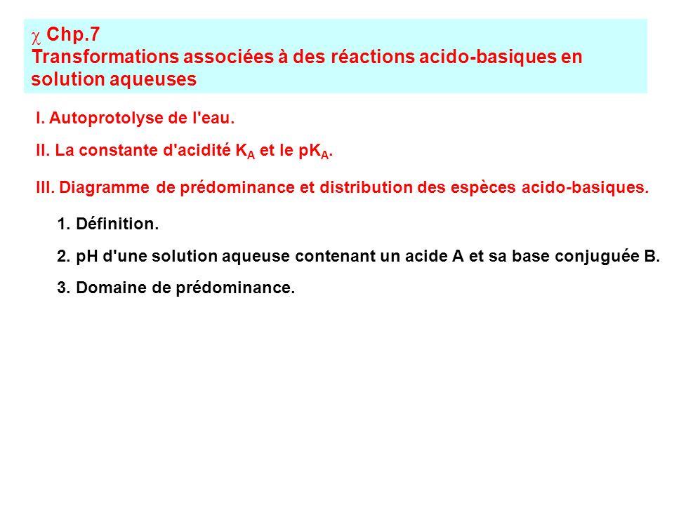 Chp.7 Transformations associées à des réactions acido-basiques en solution aqueuses I. Autoprotolyse de l'eau. II. La constante d'acidité K A et le pK