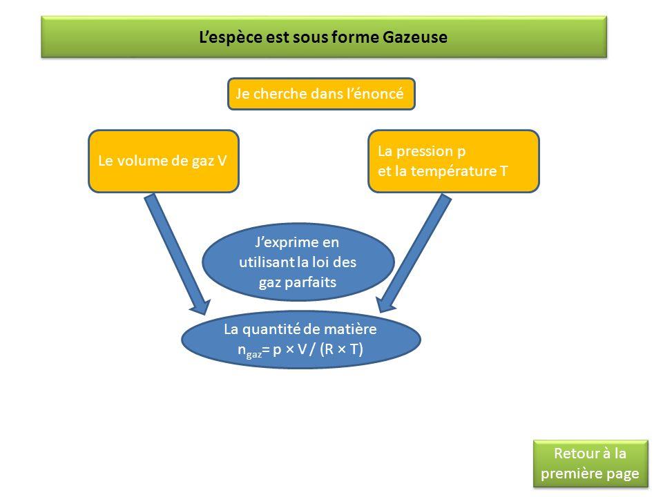 Lespèce est sous forme Gazeuse Je cherche dans lénoncé Le volume de gaz V La pression p et la température T Jexprime en utilisant la loi des gaz parfa