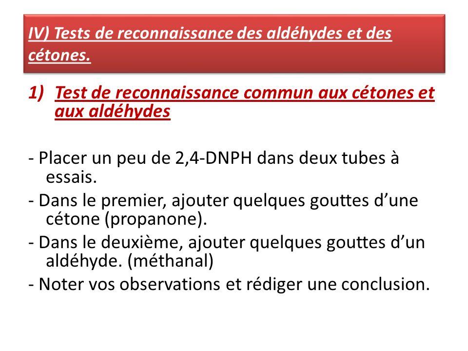 IV) Tests de reconnaissance des aldéhydes et des cétones. 1)Test de reconnaissance commun aux cétones et aux aldéhydes - Placer un peu de 2,4-DNPH dan