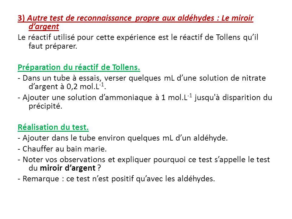 3) Autre test de reconnaissance propre aux aldéhydes : Le miroir dargent Le réactif utilisé pour cette expérience est le réactif de Tollens quil faut