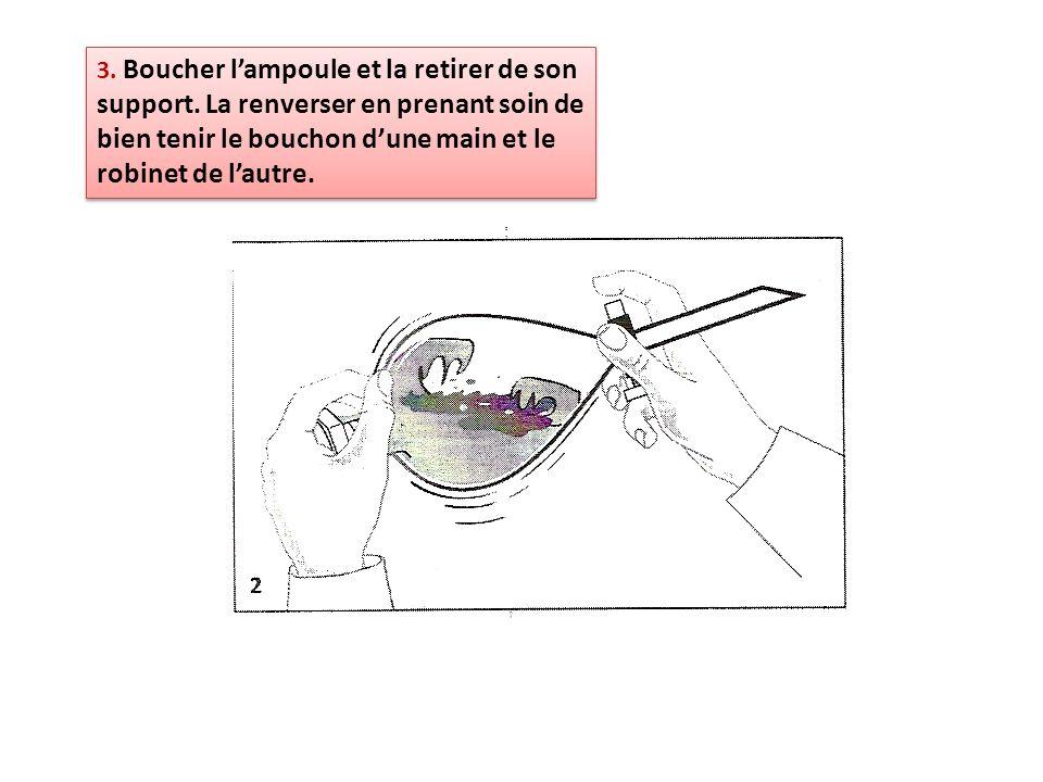 3. Boucher lampoule et la retirer de son support. La renverser en prenant soin de bien tenir le bouchon dune main et le robinet de lautre.