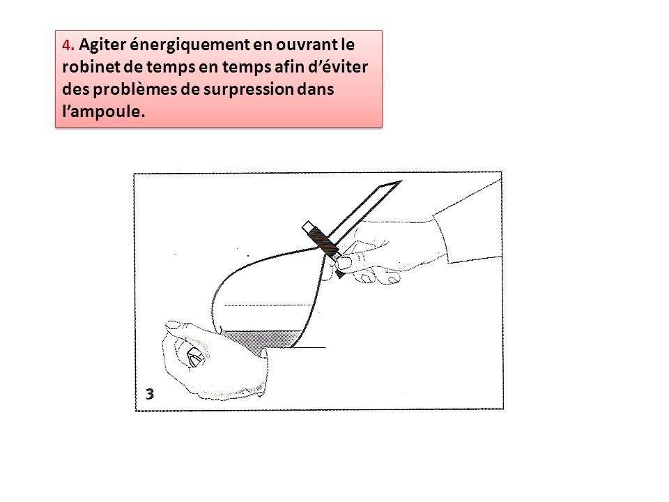 4. Agiter énergiquement en ouvrant le robinet de temps en temps afin déviter des problèmes de surpression dans lampoule.