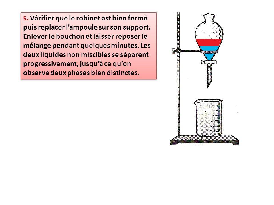5. Vérifier que le robinet est bien fermé puis replacer lampoule sur son support. Enlever le bouchon et laisser reposer le mélange pendant quelques mi
