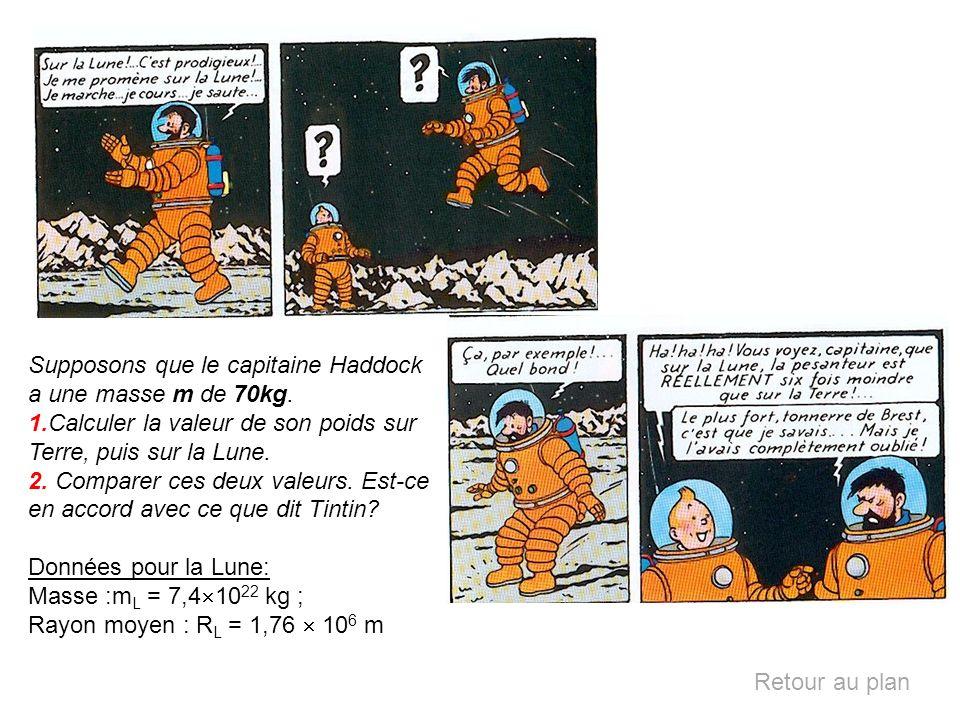 Supposons que le capitaine Haddock a une masse m de 70kg. 1.Calculer la valeur de son poids sur Terre, puis sur la Lune. 2. Comparer ces deux valeurs.