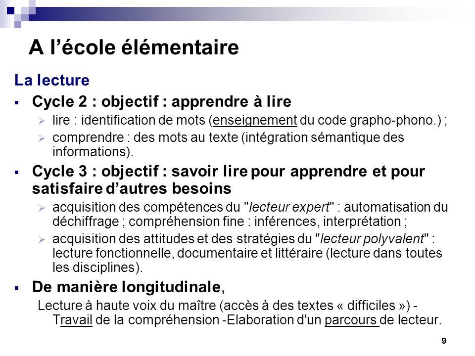 9 A lécole élémentaire La lecture Cycle 2 : objectif : apprendre à lire lire : identification de mots (enseignement du code grapho-phono.) ; comprendre : des mots au texte (intégration sémantique des informations).