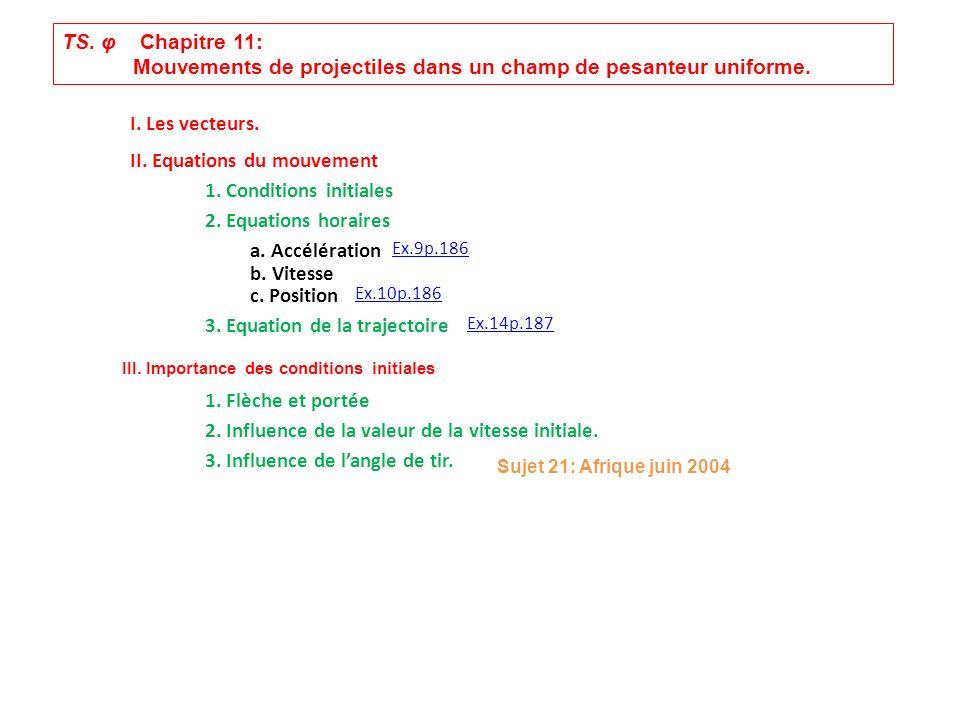 TS. φ Chapitre 11: Mouvements de projectiles dans un champ de pesanteur uniforme. I. Les vecteurs. II. Equations du mouvement 1. Conditions initiales