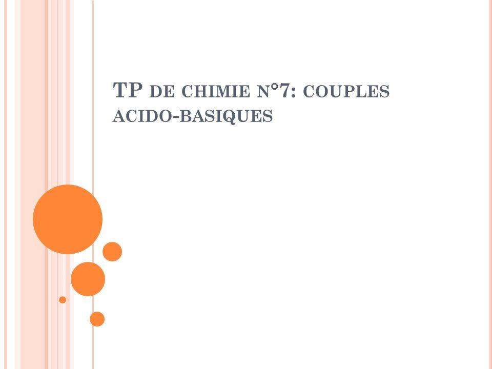TP DE CHIMIE N °7: COUPLES ACIDO - BASIQUES