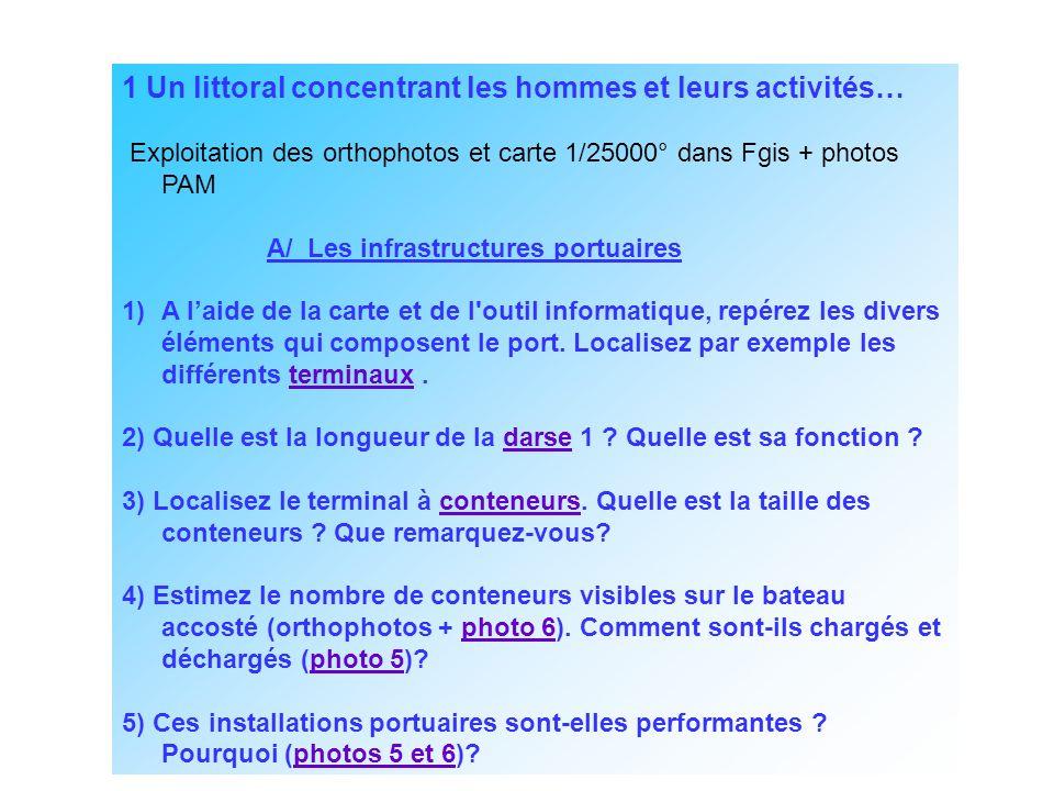1 Un littoral concentrant les hommes et leurs activités… Exploitation des orthophotos et carte 1/25000° dans Fgis + photos PAM A/ Les infrastructures