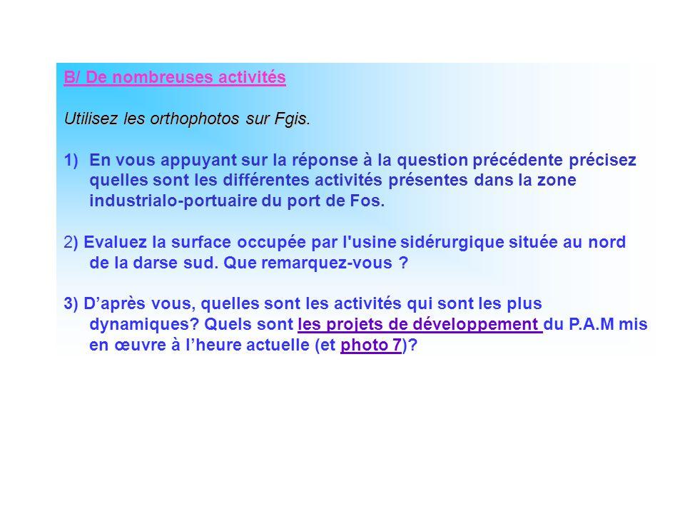 B/ De nombreuses activités Utilisez les orthophotos sur Fgis. 1)En vous appuyant sur la réponse à la question précédente précisez quelles sont les dif