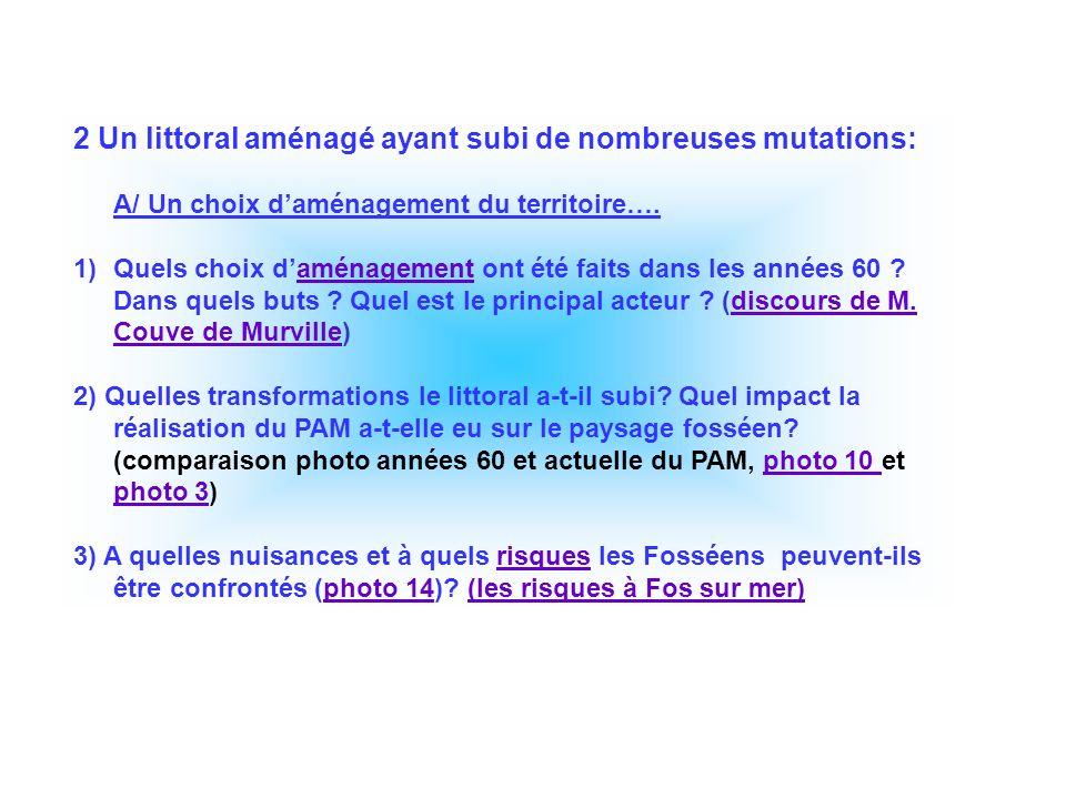2 Un littoral aménagé ayant subi de nombreuses mutations: A/ Un choix daménagement du territoire…. 1)Quels choix daménagement ont été faits dans les a