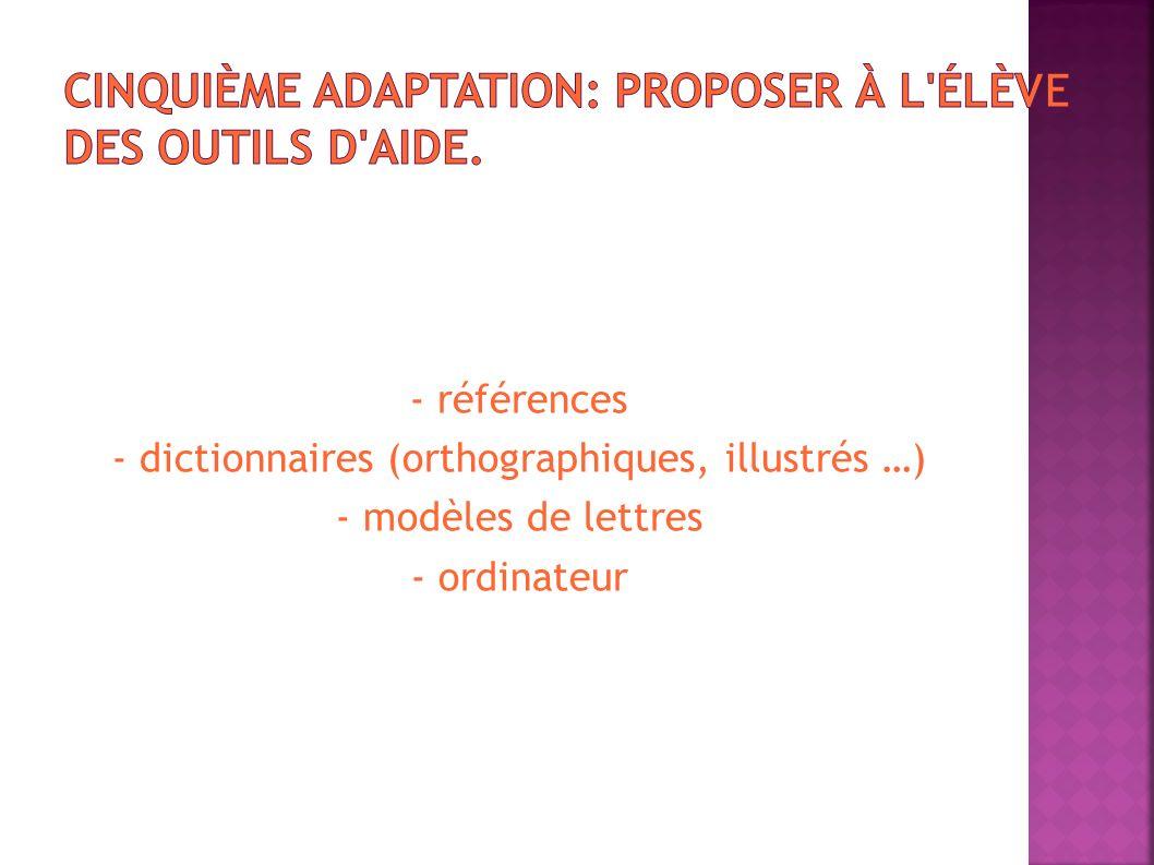 - références - dictionnaires (orthographiques, illustrés …) - modèles de lettres - ordinateur