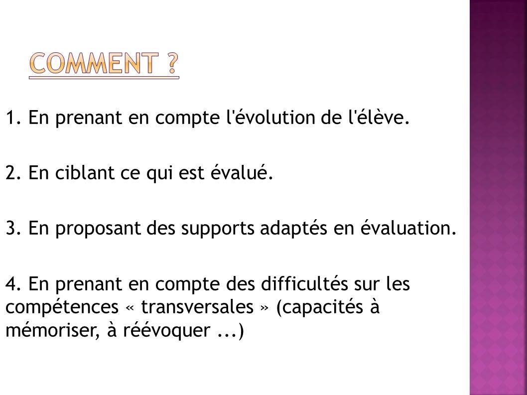 1. En prenant en compte l'évolution de l'élève. 2. En ciblant ce qui est évalué. 3. En proposant des supports adaptés en évaluation. 4. En prenant en