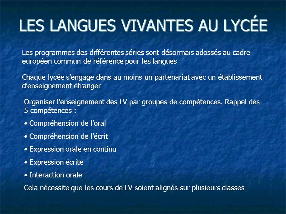 LES LANGUES VIVANTES AU LYCÉE Les programmes des différentes séries sont désormais adossés au cadre européen commun de référence pour les langues Chaq