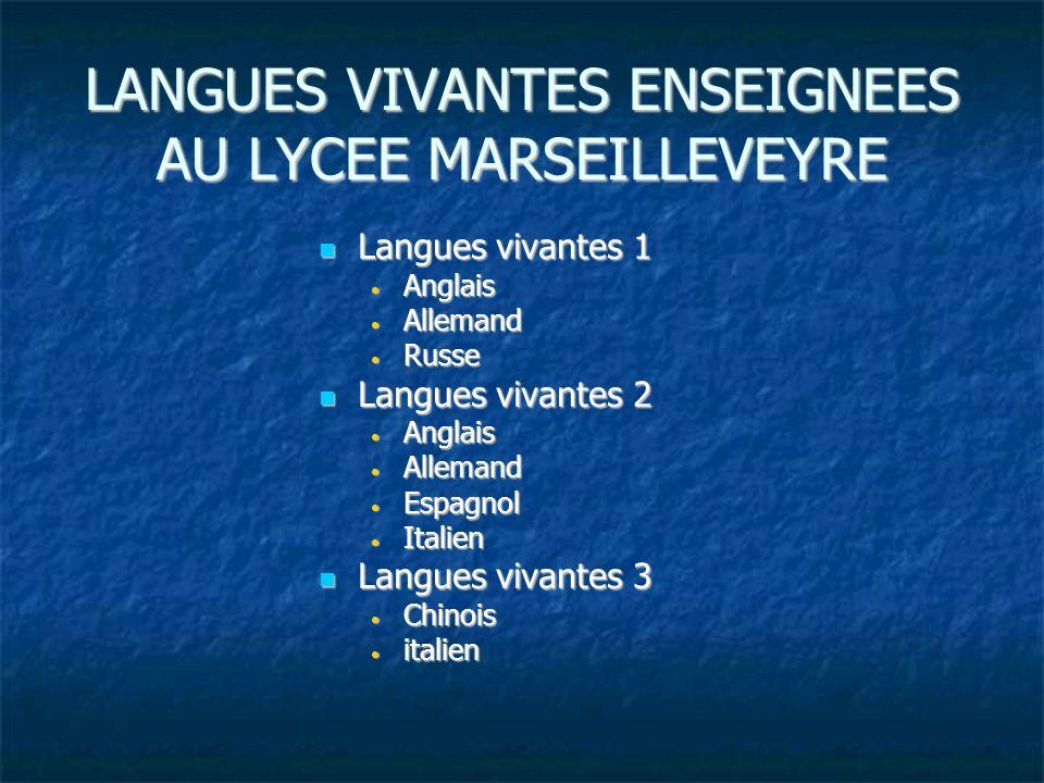 LANGUES VIVANTES ENSEIGNEES AU LYCEE MARSEILLEVEYRE Langues vivantes 1 Langues vivantes 1 Anglais Anglais Allemand Allemand Russe Russe Langues vivant