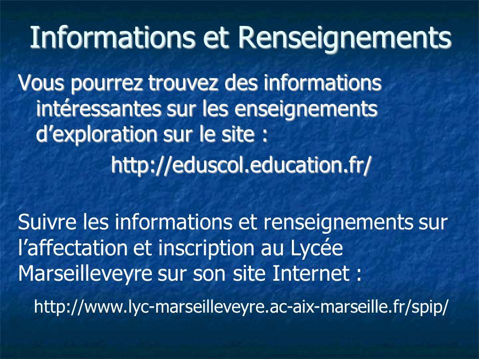 Informations et Renseignements Vous pourrez trouvez des informations intéressantes sur les enseignements dexploration sur le site : http://eduscol.education.fr/ Suivre les informations et renseignements sur laffectation et inscription au Lycée Marseilleveyre sur son site Internet : http://www.lyc-marseilleveyre.ac-aix-marseille.fr/spip/