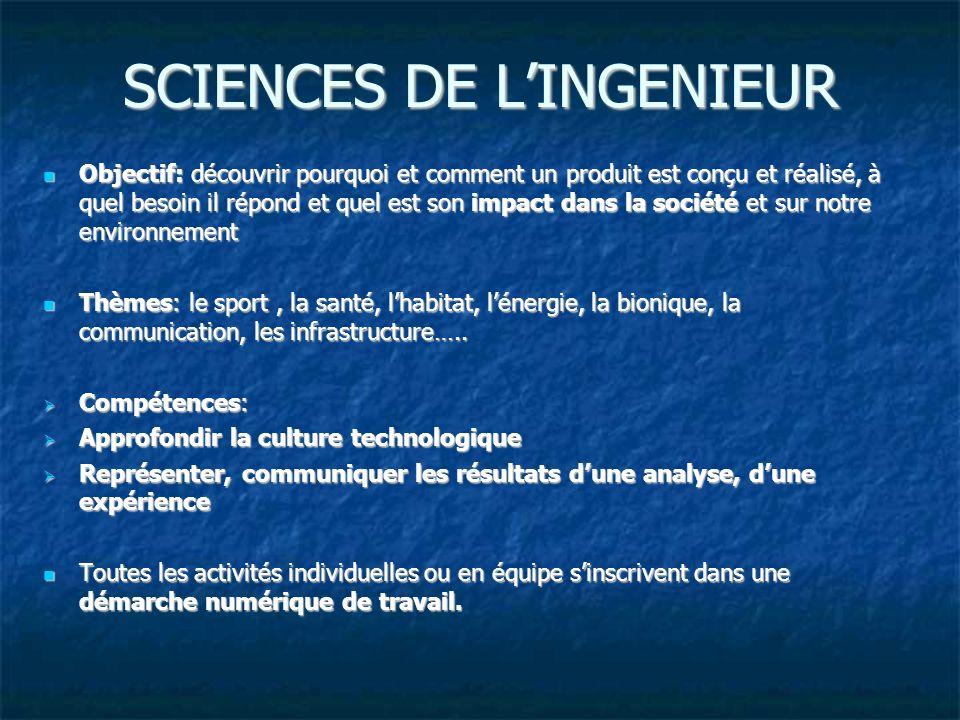 SCIENCES DE LINGENIEUR Objectif: découvrir pourquoi et comment un produit est conçu et réalisé, à quel besoin il répond et quel est son impact dans la