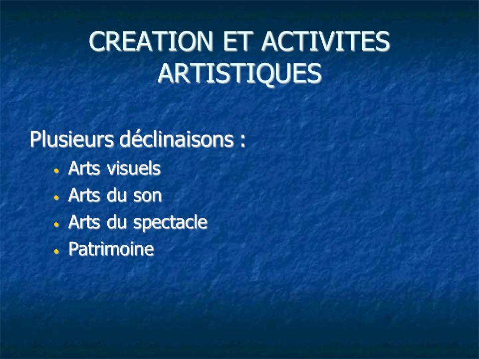 CREATION ET ACTIVITES ARTISTIQUES Plusieurs déclinaisons : Arts visuels Arts visuels Arts du son Arts du son Arts du spectacle Arts du spectacle Patrimoine Patrimoine