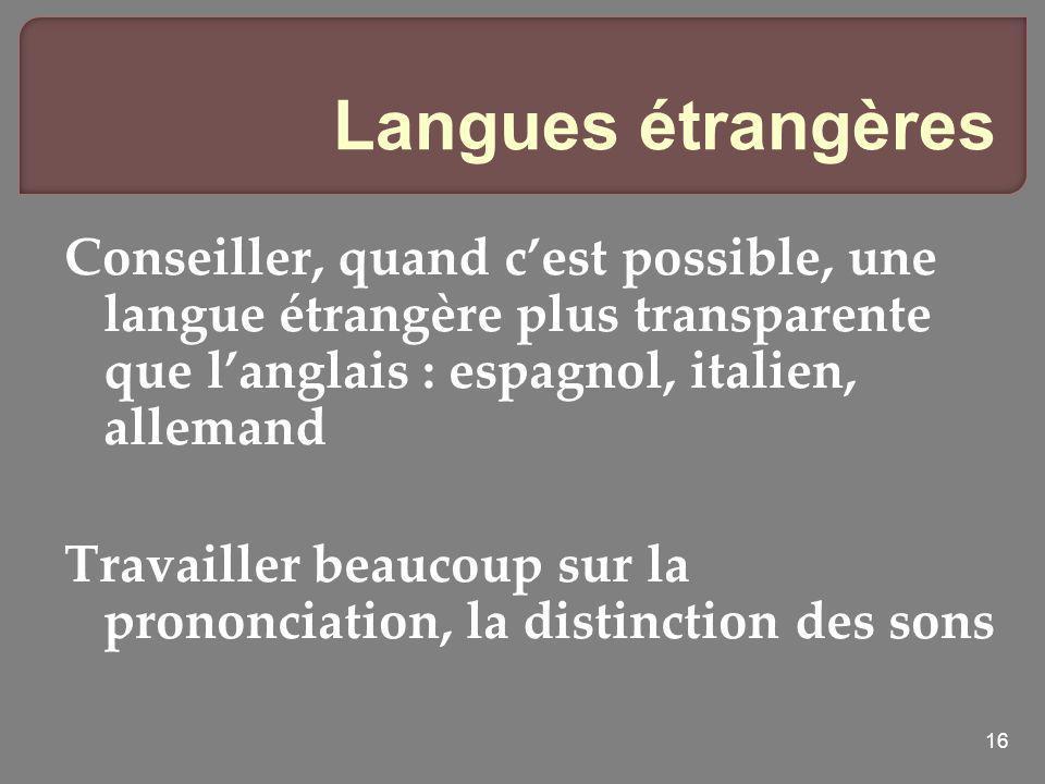 16 Langues étrangères Conseiller, quand cest possible, une langue étrangère plus transparente que langlais : espagnol, italien, allemand Travailler be