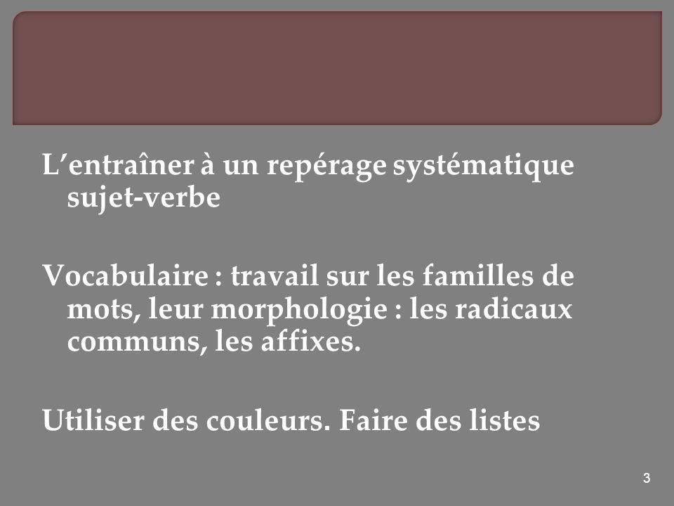 3 Lentraîner à un repérage systématique sujet-verbe Vocabulaire : travail sur les familles de mots, leur morphologie : les radicaux communs, les affix