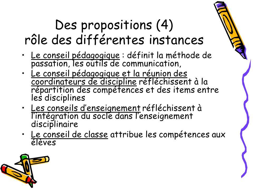 Des propositions (4) rôle des différentes instances Le conseil pédagogique : définit la méthode de passation, les outils de communication, Le conseil