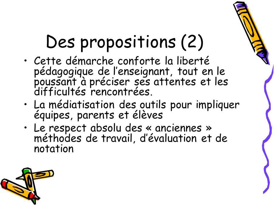 Des propositions (2) Cette démarche conforte la liberté pédagogique de lenseignant, tout en le poussant à préciser ses attentes et les difficultés ren