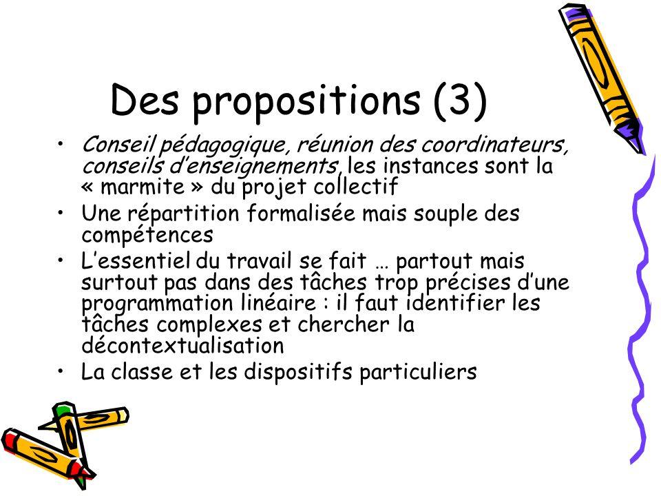Des propositions (3) Conseil pédagogique, réunion des coordinateurs, conseils denseignements, les instances sont la « marmite » du projet collectif Un