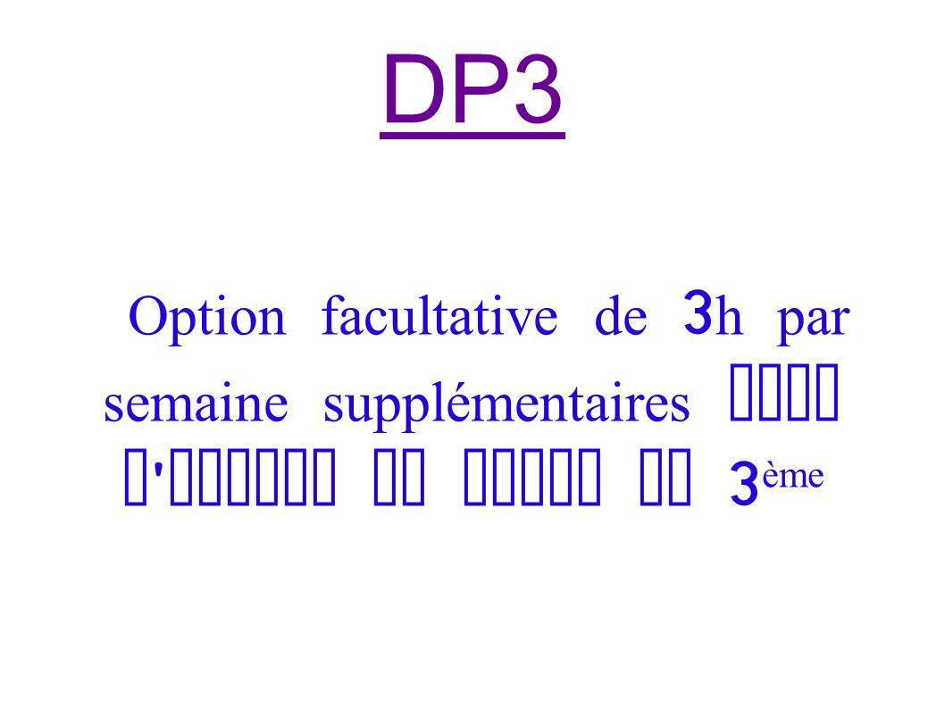 Option facultative de 3 h par semaine supplémentaires dans l ' emploi du temps de 3 ème