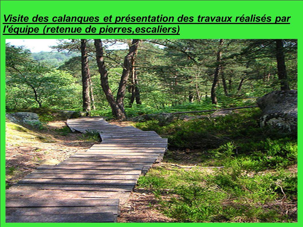 Visite des calanques et présentation des travaux réalisés par l équipe (retenue de pierres,escaliers)
