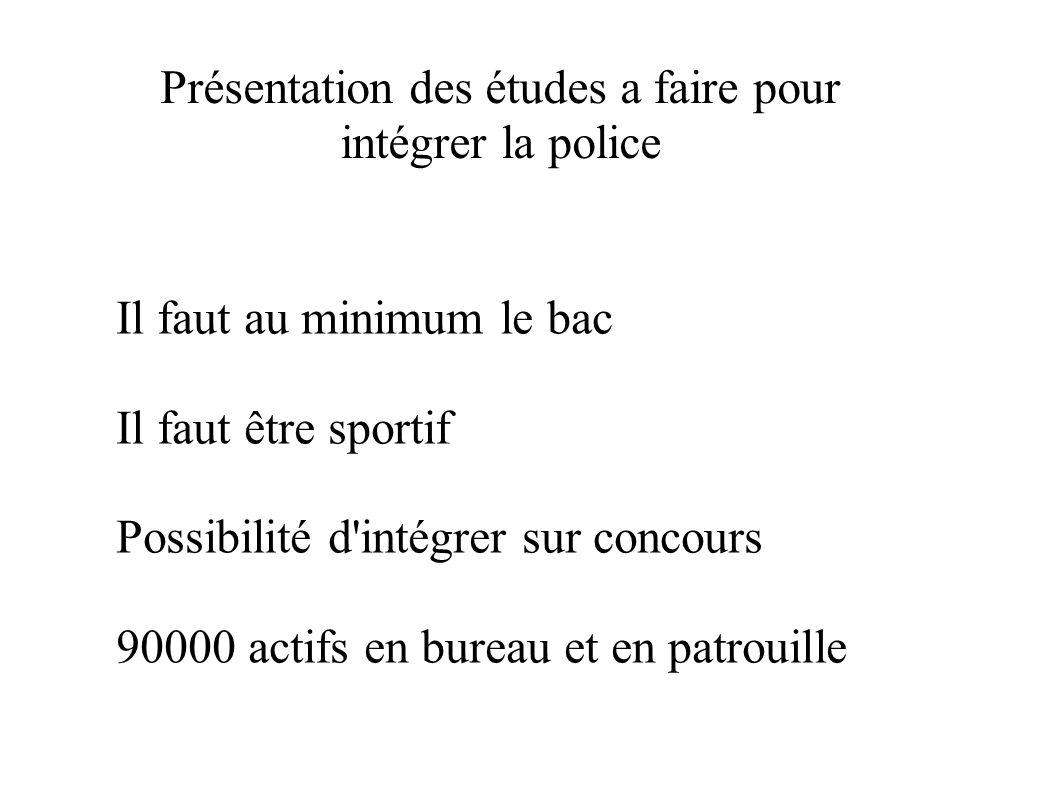Présentation des études a faire pour intégrer la police Il faut au minimum le bac Il faut être sportif Possibilité d'intégrer sur concours 90000 actif