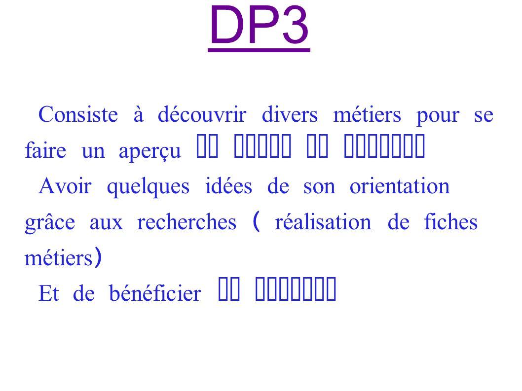 DP3 Consiste à découvrir divers métiers pour se faire un aperçu du monde du travail Avoir quelques idées de son orientation grâce aux recherches ( réalisation de fiches métiers ) Et de bénéficier de sorties