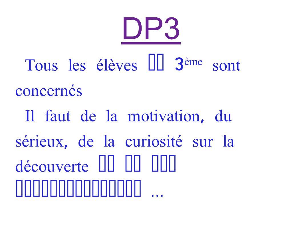 DP3 Tous les élèves de 3 ème sont concernés Il faut de la motivation, du sérieux, de la curiosité sur la découverte de la vie professionnelle...