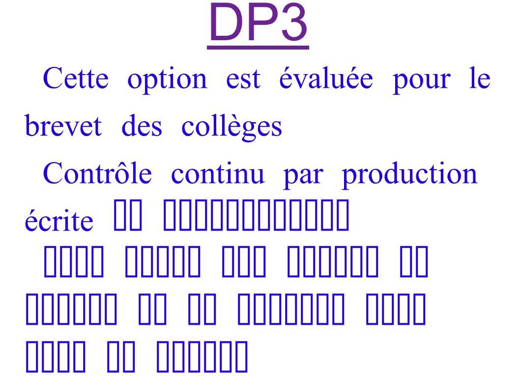 DP3 Cette option est évaluée pour le brevet des collèges Contrôle continu par production écrite et comportement Mais seuls les points au dessus de la moyenne sont pris en compte