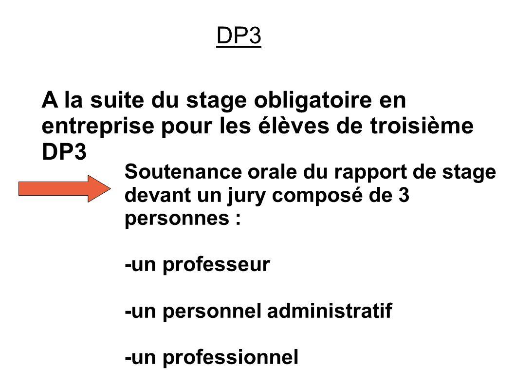 DP3 A la suite du stage obligatoire en entreprise pour les élèves de troisième DP3 Soutenance orale du rapport de stage devant un jury composé de 3 personnes : -un professeur -un personnel administratif -un professionnel