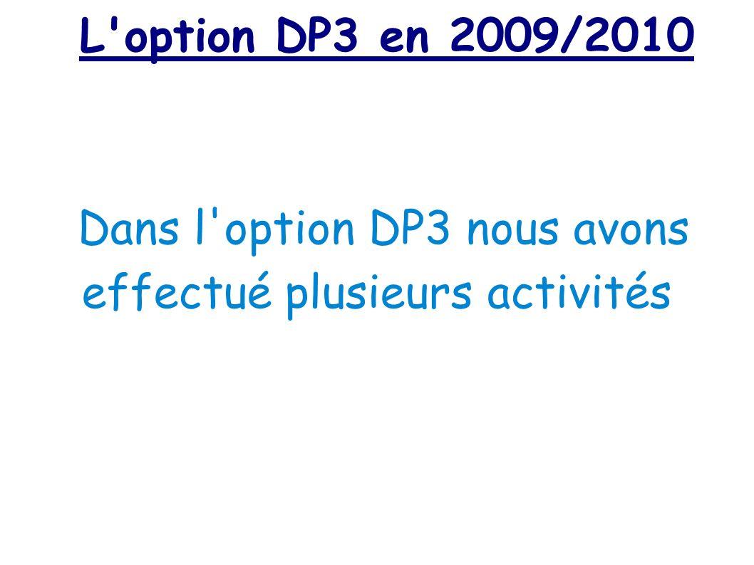 L'option DP3 en 2009/2010 Dans l'option DP3 nous avons effectué plusieurs activités