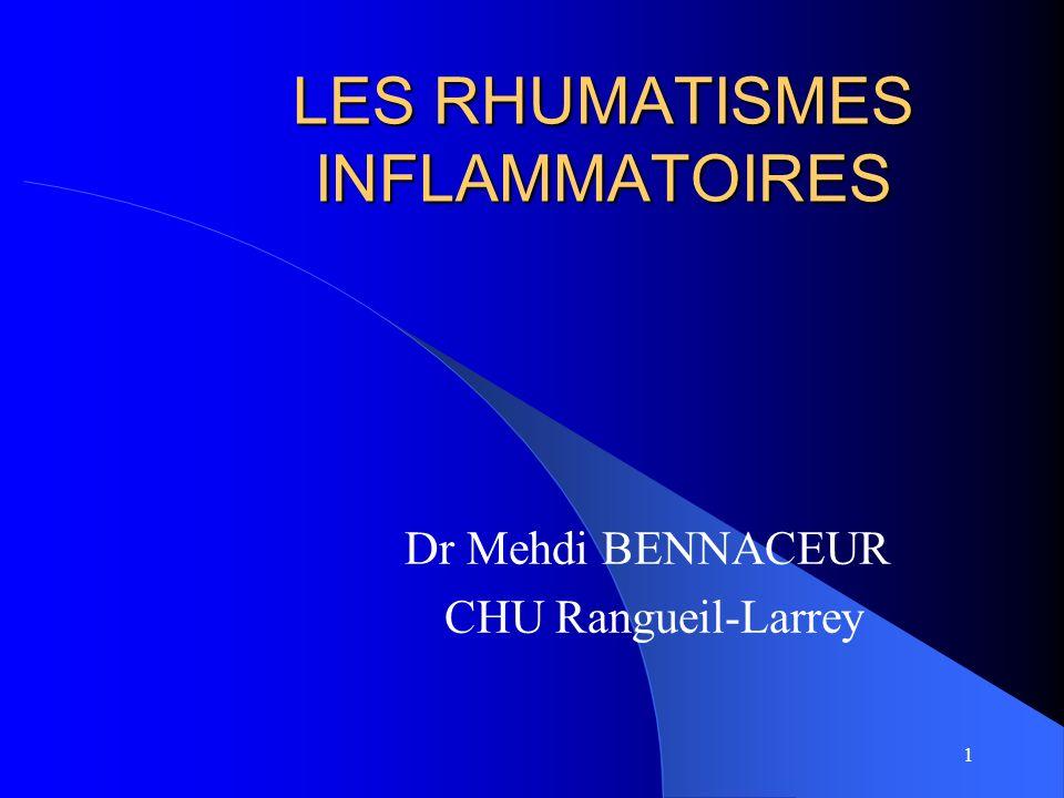 32 SPONDYLARTHRITE ANKYLOSANTE Évolution ascendante Arthrites périphériques peu fréquentes Syndrome inflammatoire HLA B27 dans 90 %