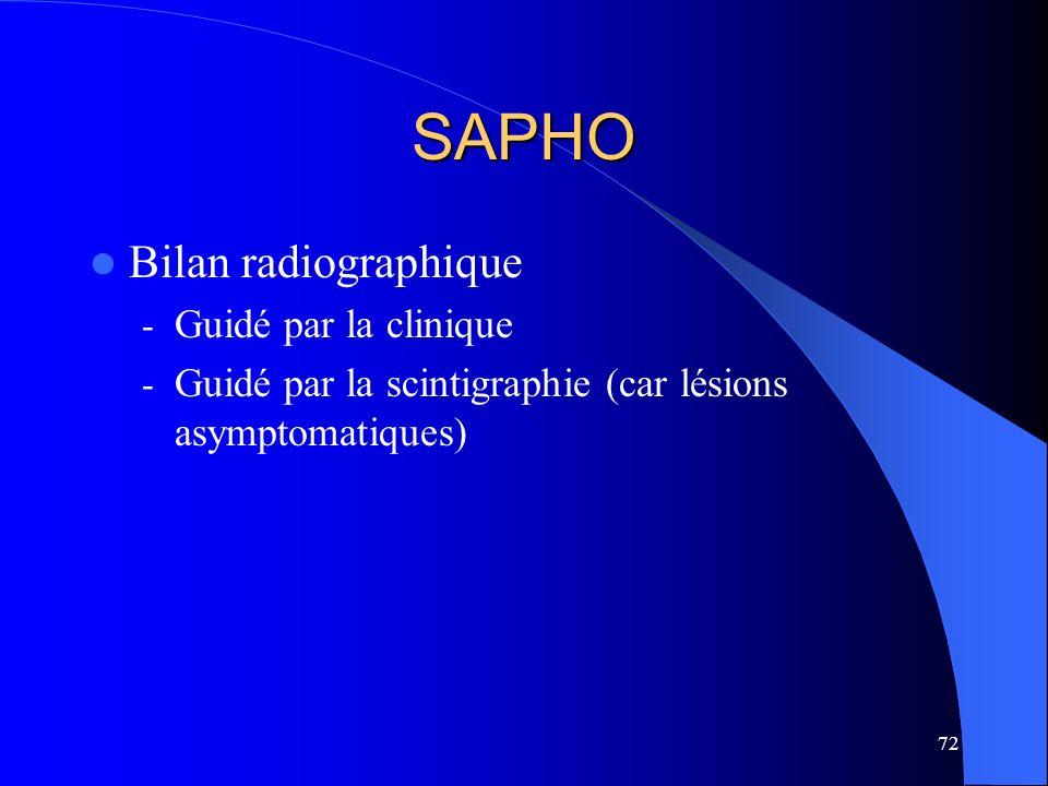 72 SAPHO Bilan radiographique - Guidé par la clinique - Guidé par la scintigraphie (car lésions asymptomatiques)