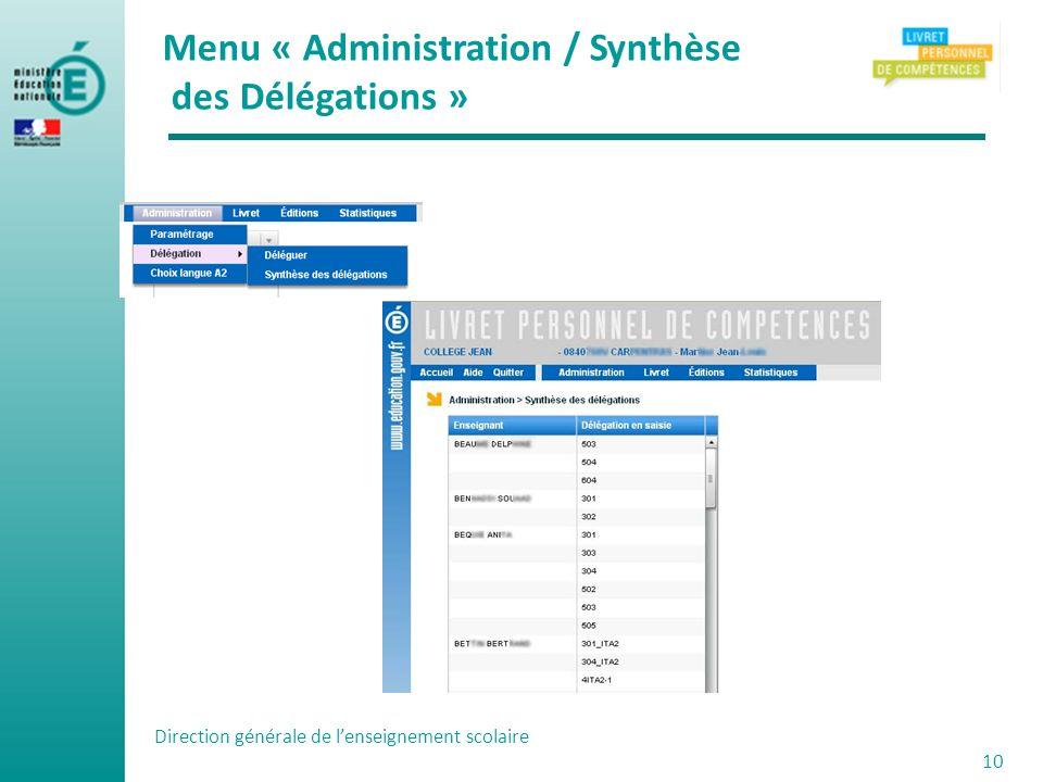 Direction générale de lenseignement scolaire 10 Menu « Administration / Synthèse des Délégations »