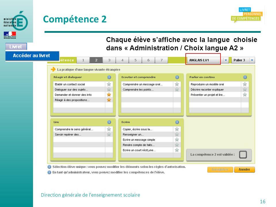 Direction générale de lenseignement scolaire 16 Chaque élève saffiche avec la langue choisie dans « Administration / Choix langue A2 » Compétence 2