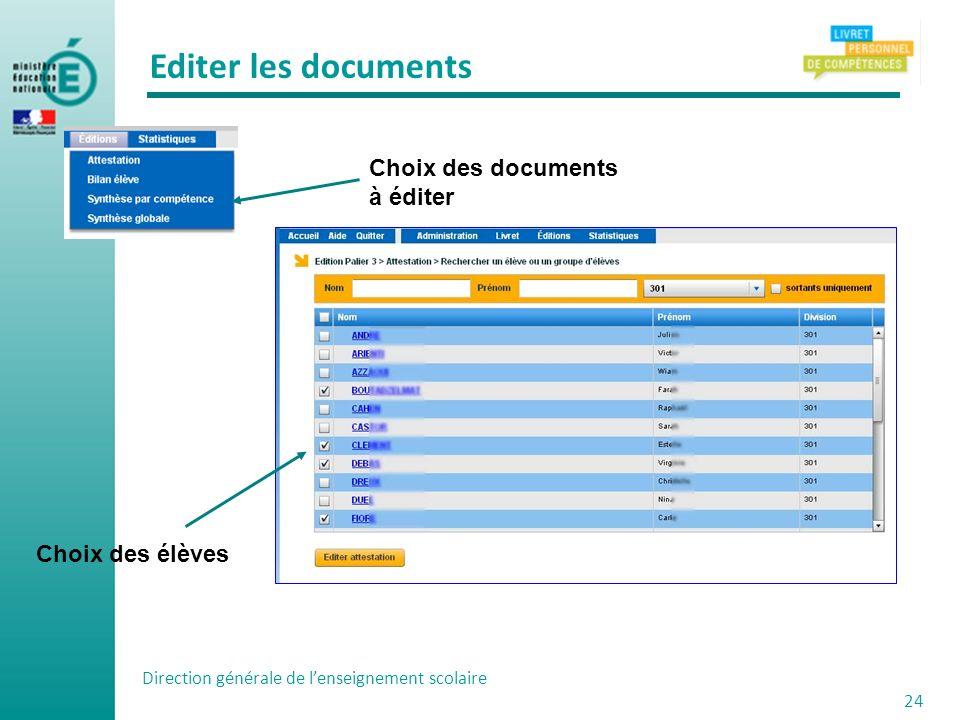 Direction générale de lenseignement scolaire 24 Choix des documents à éditer Choix des élèves Editer les documents
