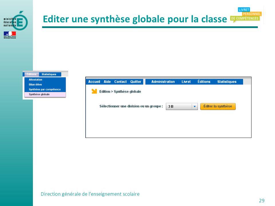 Direction générale de lenseignement scolaire 29 Editer une synthèse globale pour la classe