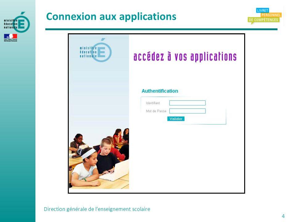 Direction générale de lenseignement scolaire 4 Connexion aux applications