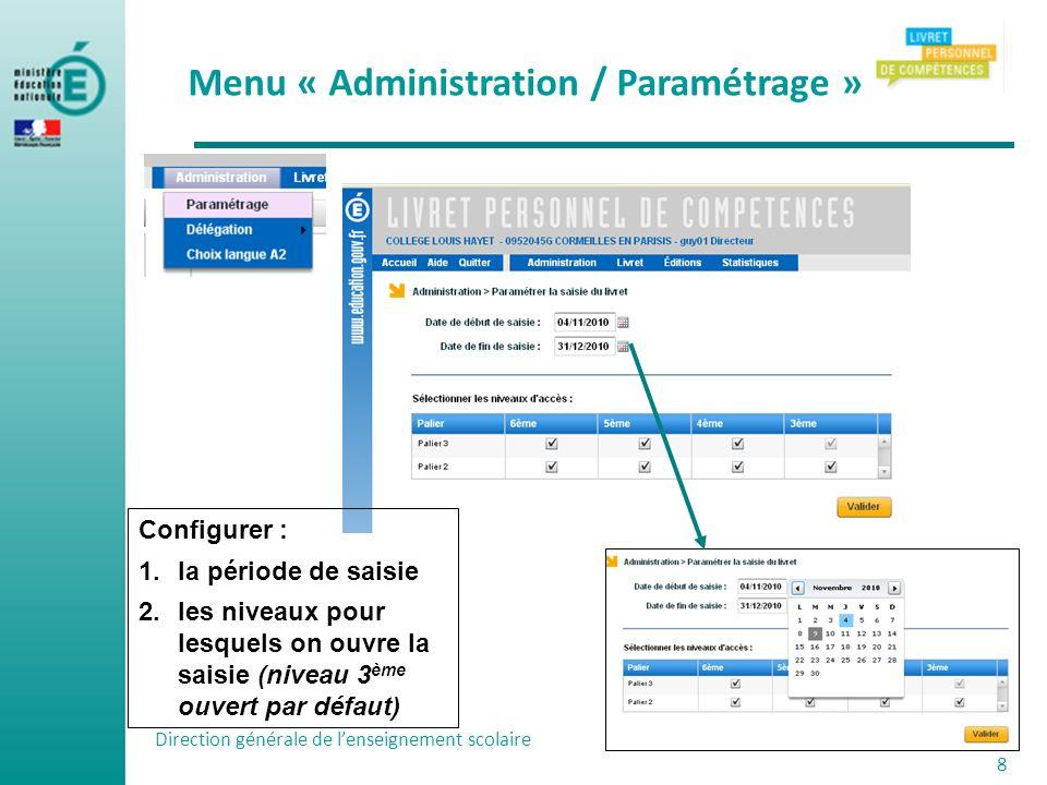Direction générale de lenseignement scolaire 8 Menu « Administration / Paramétrage » Configurer : 1.la période de saisie 2.les niveaux pour lesquels o