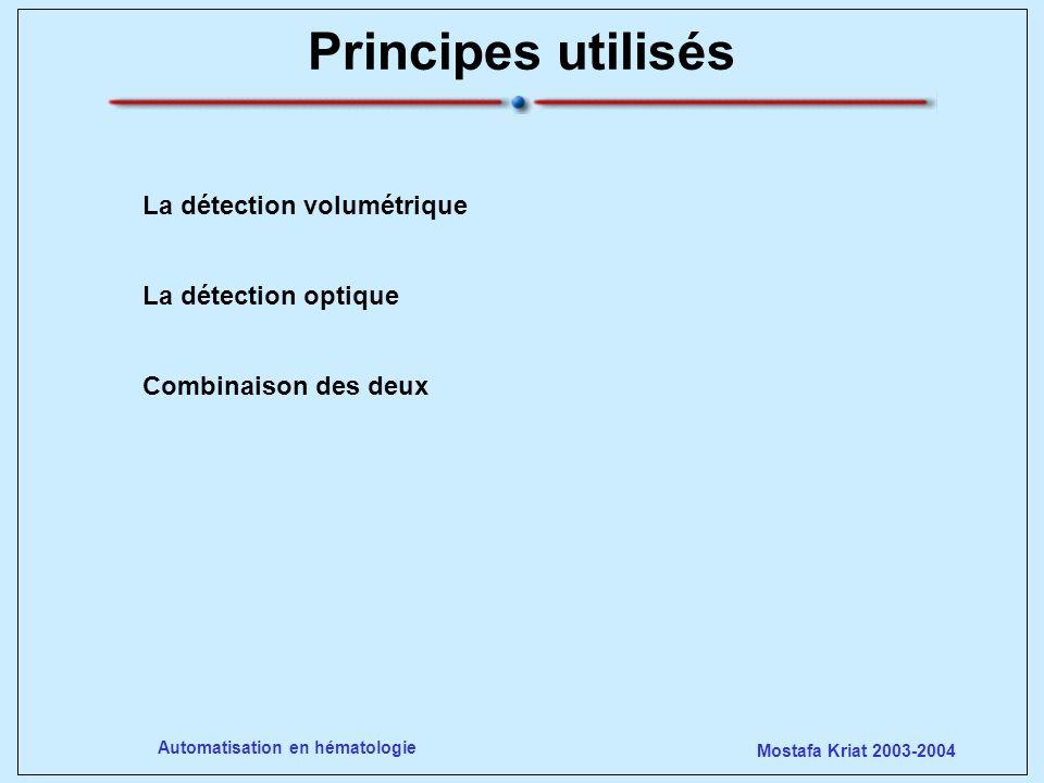 Mostafa Kriat 2003-2004 Automatisation en hématologie Inventé par Wallace Coulter en 1948 Détection volumétrique Numération / discrimination par seuil/ correction /construction dhistogrammes